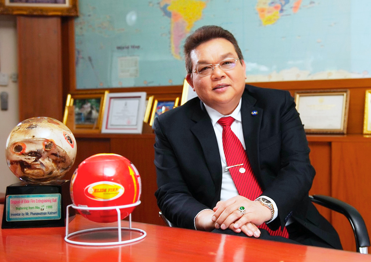 "Mr. Phanawatnan Kaimart inventor of ""Fire Extinguishing Ball"" and CEO"